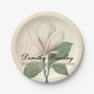 90th Birthday Party  Vintage Magnolia Paper Plates