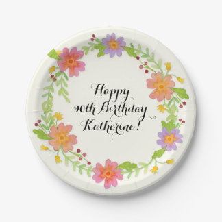 90th Birthday Party Watercolor Modern Floral 7 Inch Paper Plate
