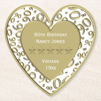 90th Birthday Party White and Gold Theme Paper Coaster