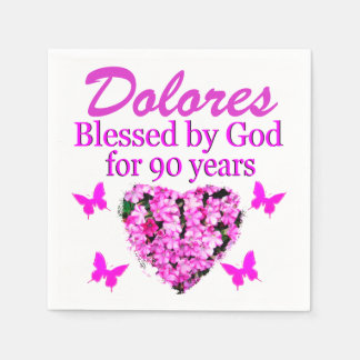 90TH BIRTHDAY PERSONALIZED PINK FLORAL NAPKINS DISPOSABLE NAPKINS