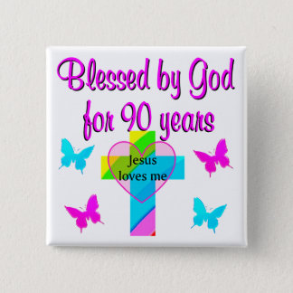90TH BIRTHDAY PRAYER 2 INCH SQUARE BUTTON