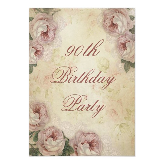 90th Birthday Shabby Chic Roses and Lace Card