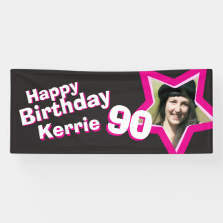 90th birthday star custom photo banner