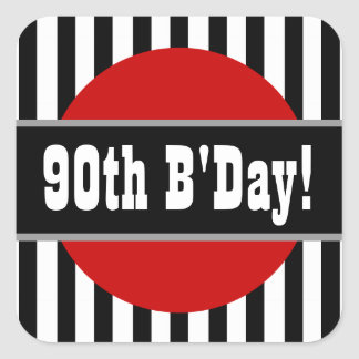 90th Birthday Stripes and Circle Party Favor F06 Square Sticker