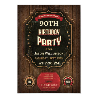 90th Birthday Vintage Chalkboard & Wood Card