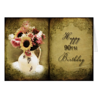 90th BIRTHDAY - VINTAGE FLORAL - BOOK/PAGES Card