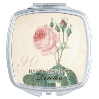90th Birthday Vintage Rose Personalized Travel Mirrors