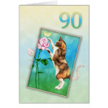 90th Birthday with a playful cat Greeting Card