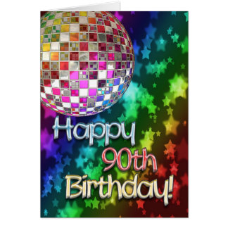 90th birthday with disco ball and rainbow of stars card