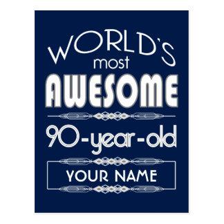 90th Birthday Worlds Best Fabulous Dark Blue Postcard