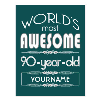 90th Birthday Worlds Best Fabulous Dark Green Fore Post Cards
