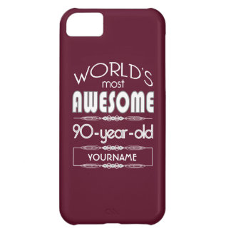 90th Birthday Worlds Best Fabulous Dark Red iPhone 5C Cases