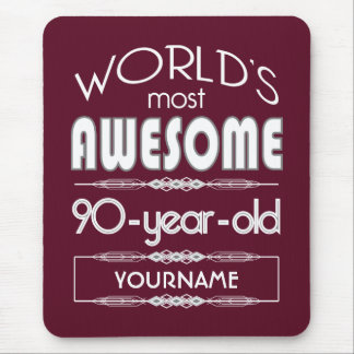 90th Birthday Worlds Best Fabulous Dark Red Mouse Pad
