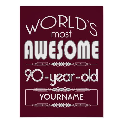 90th Birthday Worlds Best Fabulous Dark Red Print
