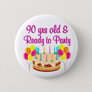 90TH PARTY GIRL 2 INCH ROUND BUTTON
