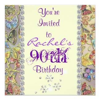 90TH PURPLE BUTTERFLY Birthday Invitation BLING