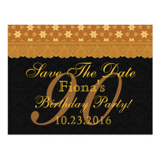 90th Save the Date Birthday Gold Black Lace Postcard