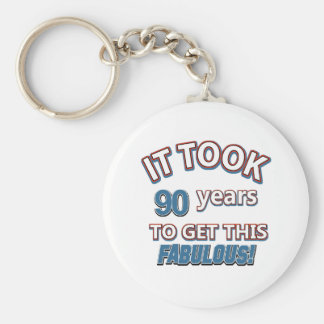 90th year birthday designs keychain