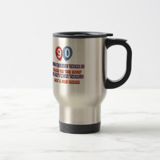 90th year old snow on the roof birthday designs travel mug