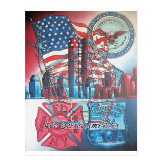 911 God Bless America Postcard