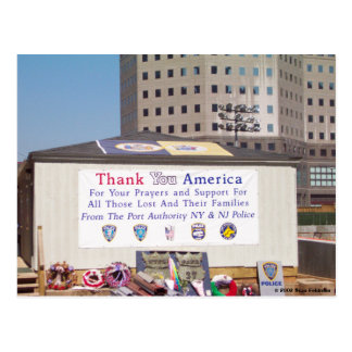 911 Ground Zero Thank You America Postcard