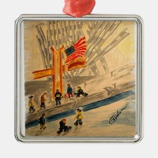 911 Heroes Premium Square Ornament