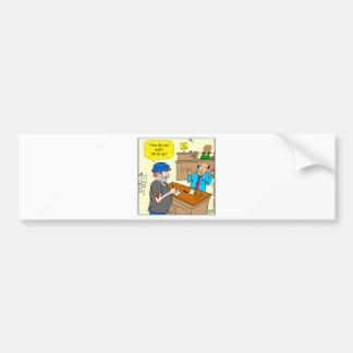 916 stick up at the bank cartoon bumper sticker