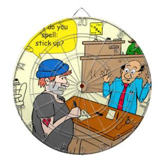 916 stick up at the bank cartoon dartboard
