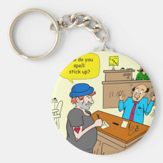 916 stick up at the bank cartoon keychain