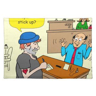 916 stick up at the bank cartoon placemat