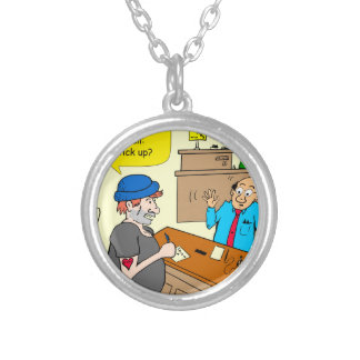 916 stick up at the bank cartoon silver plated necklace