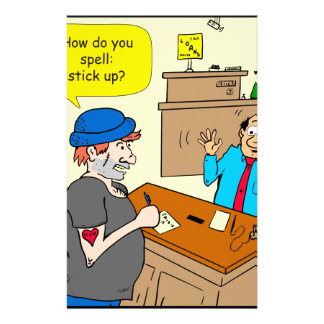916 stick up at the bank cartoon stationery