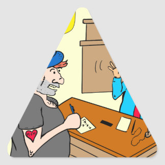 916 stick up at the bank cartoon triangle sticker