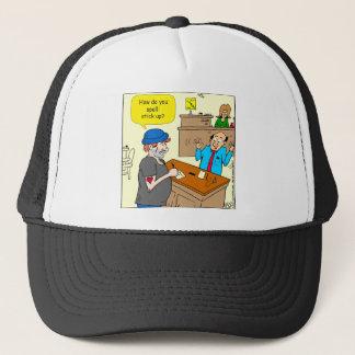 916 stick up at the bank cartoon trucker hat