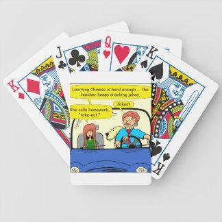 917 Teacher calls homework takeout cartoon Bicycle Playing Cards