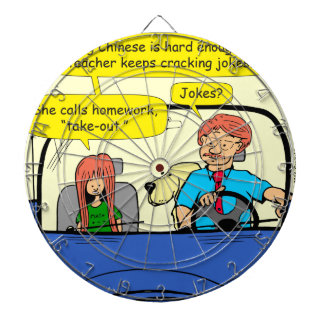 917 Teacher calls homework takeout cartoon Dartboard