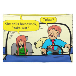 917 Teacher calls homework takeout cartoon Placemat