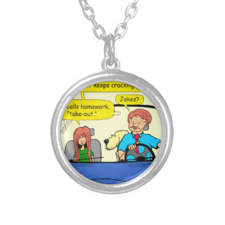 917 Teacher calls homework takeout cartoon Silver Plated Necklace