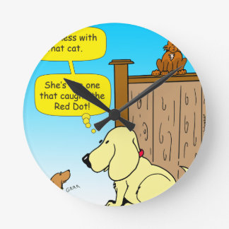 918 The cat that caught the red dot cartoon Round Clock