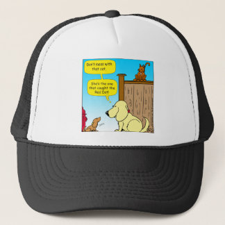 918 The cat that caught the red dot cartoon Trucker Hat