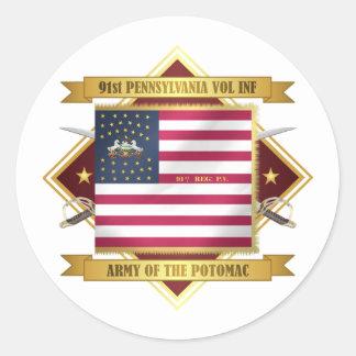 91 PA Infantry Round Sticker