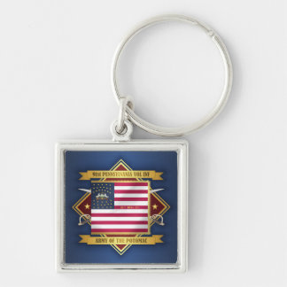 91 PA Vol Inf Silver-Colored Square Keychain