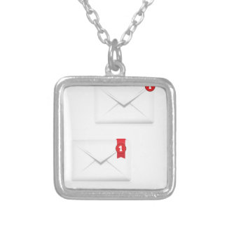 91Mailbox Alert Icon_rasterized Silver Plated Necklace