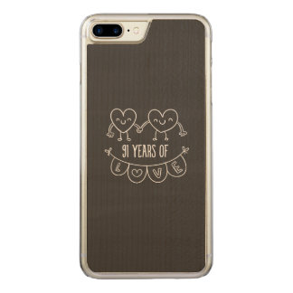 91st Anniversary Chalk Hearts Carved iPhone 7 Plus Case
