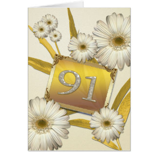 91st Birthday card with daisies.