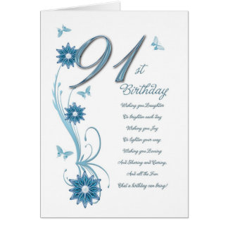 91st birthday in teal with flowers and butterfly card