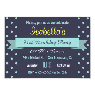 91st Birthday Party Blue Polka Dot and Banner Card