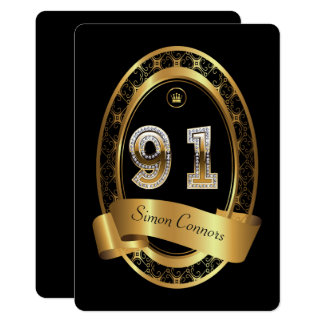 91st,birthday party woman man,elegant color card