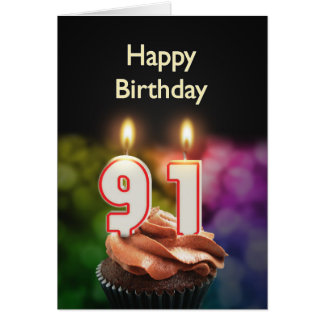 91st Birthday with cake and candles Card
