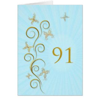 91st Birthday with golden butterflies Card